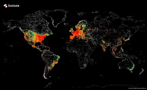 Source: Shodan.io map showing Internet-connected devices