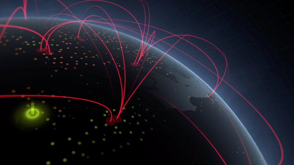 View of earth from above with red lines