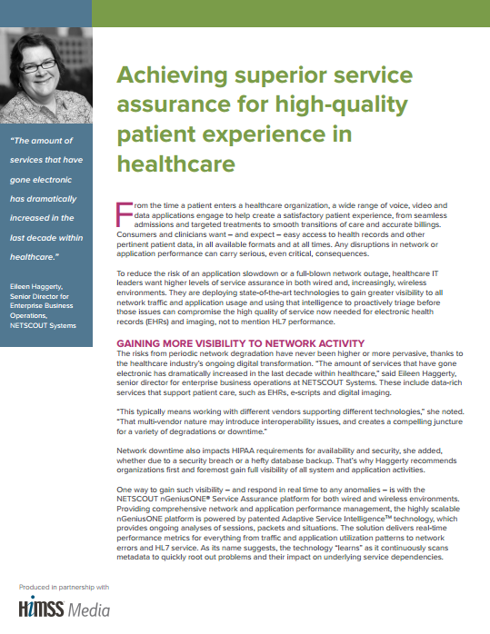HIMSS White Paper: Achieving Superior Service Assurance for High-Quality Patient Experience in Healthcare