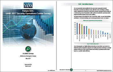 SANS Report: 2017 SOC Survey | PFS White Paper | NETSCOUT