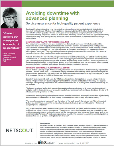 Avoiding downtime with  	advanced planning