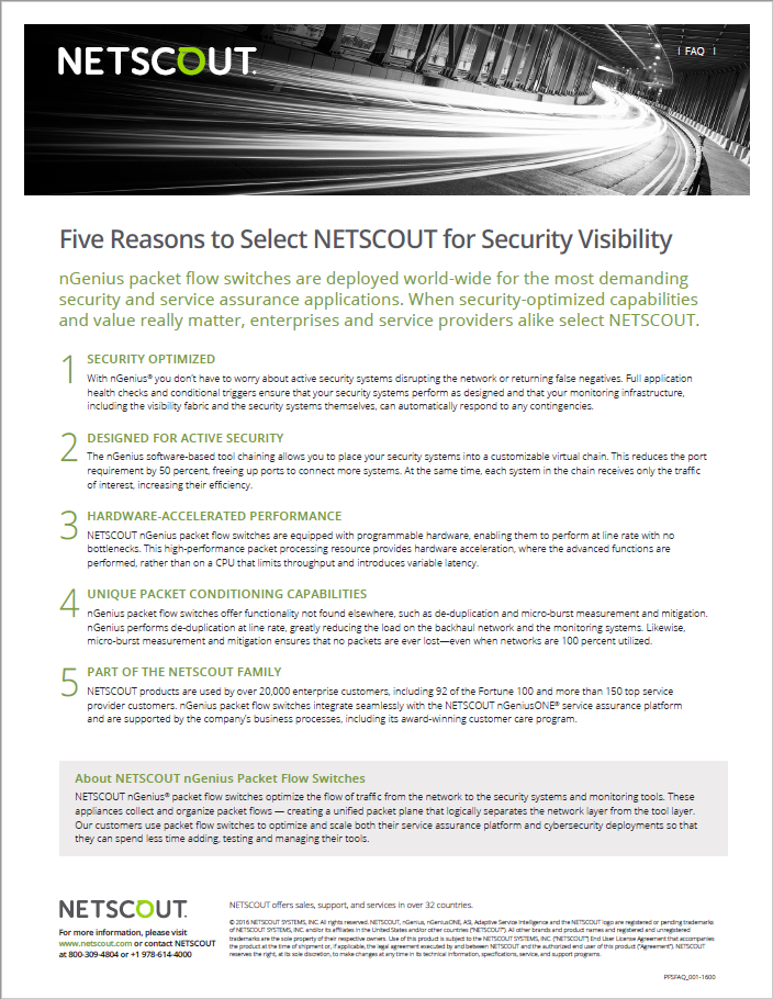 5 reasons to choose NETSCOUT for cybersecurity visibility