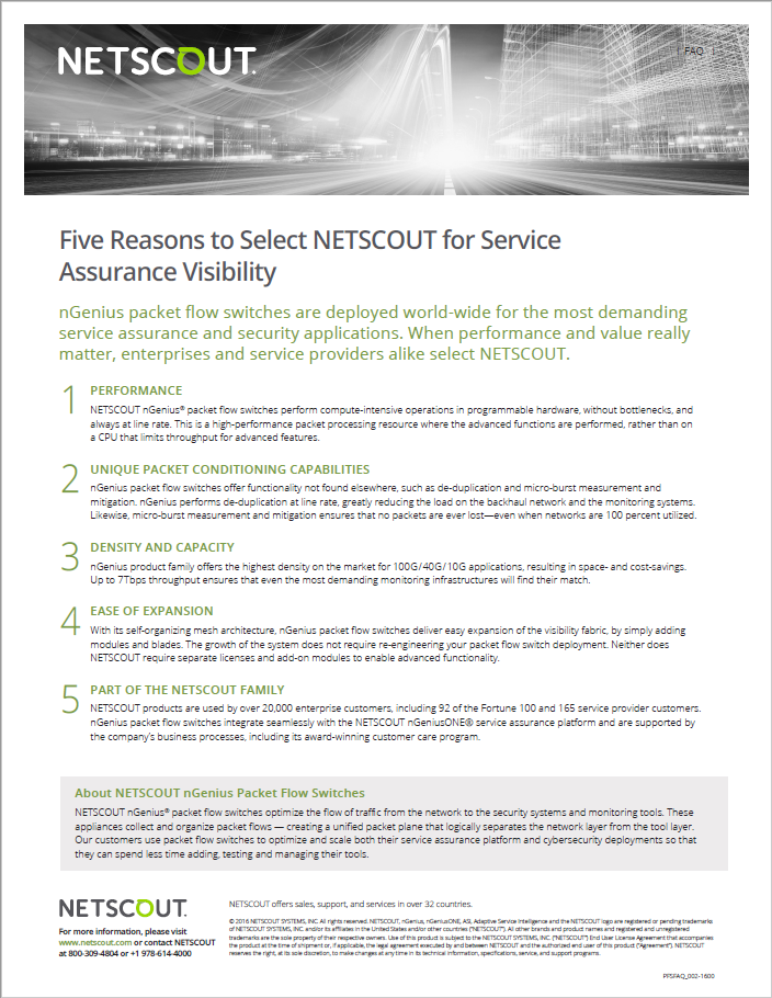 5 reasons to choose NETSCOUT for service assurance visibility