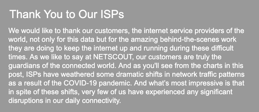 Thank you to our ISPs