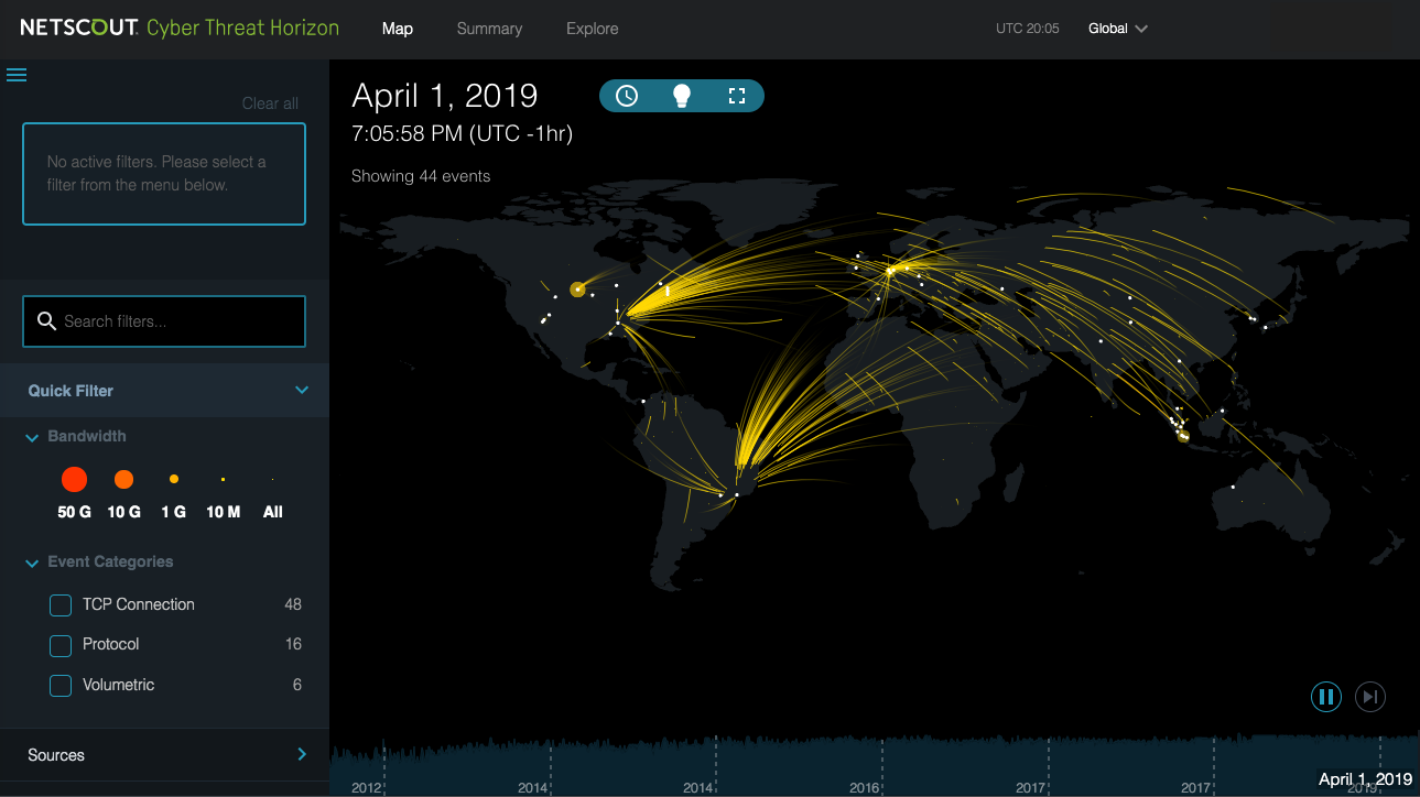 DDoS & Cyber Map | NETSCOUT Cyber Threat Horizon Ddos Live Map on