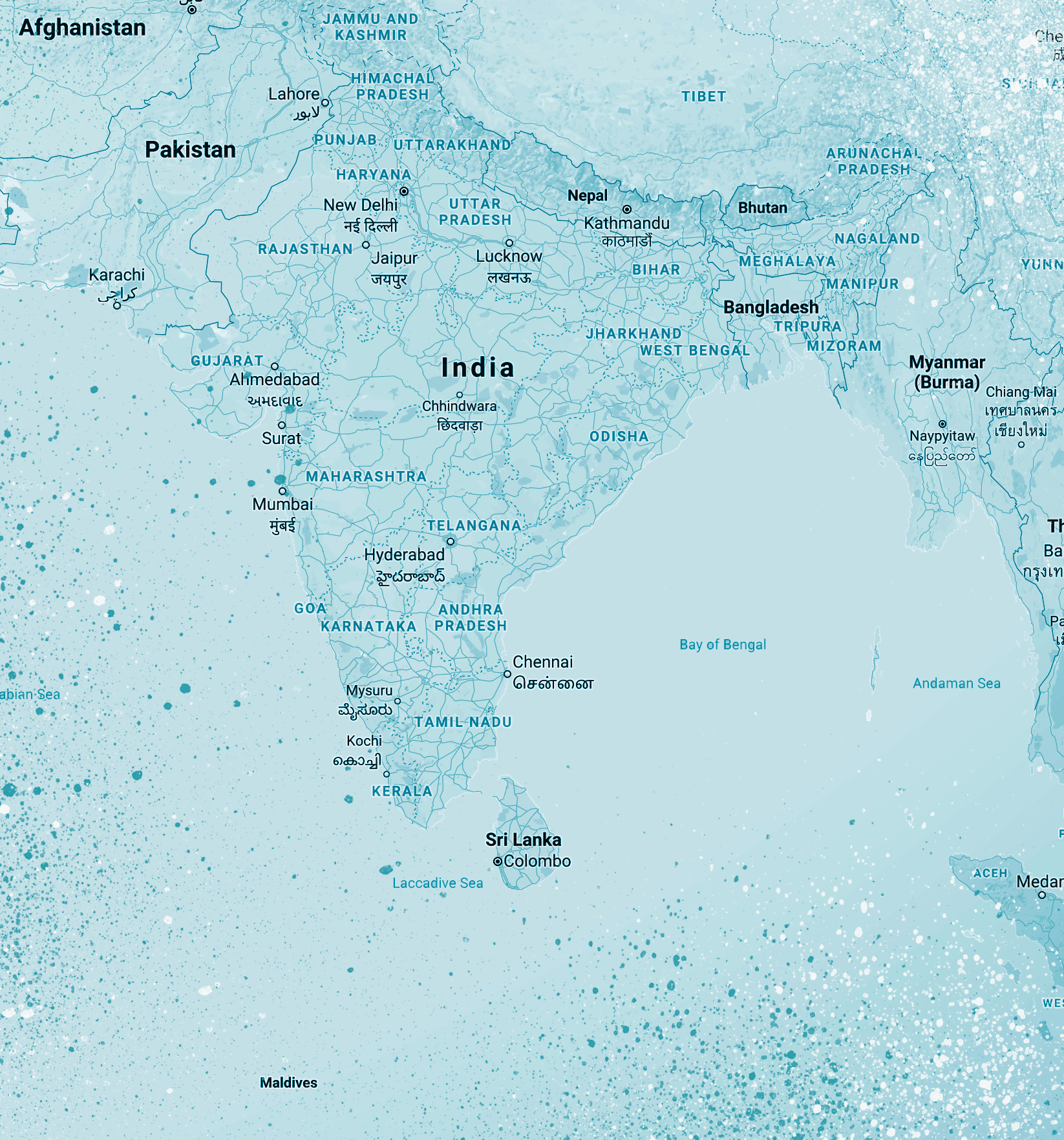 South Asia Map (generated by Google Maps)