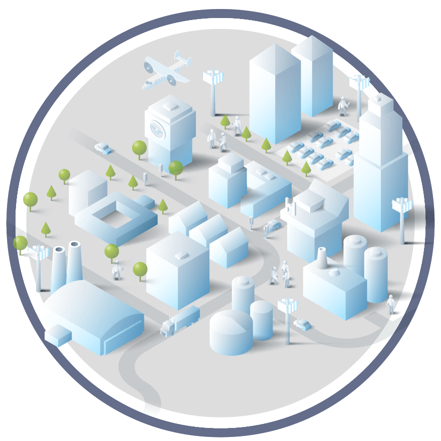 Illustration of Smart City with 5G