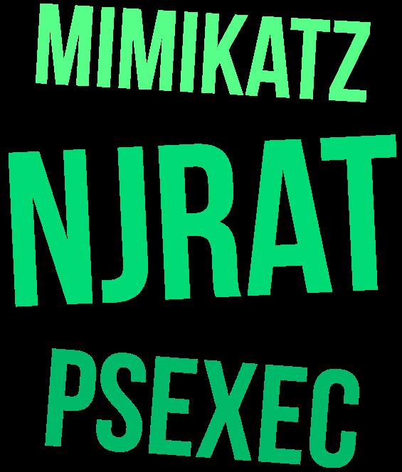 mimikatz, njrat, psexec.