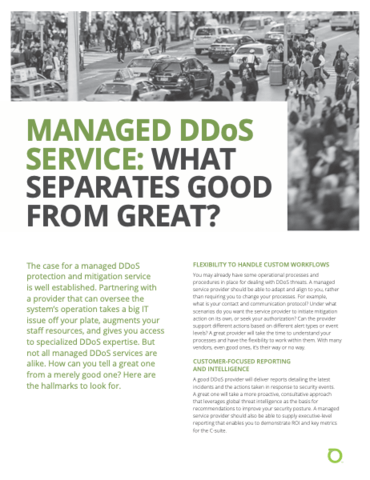 Managed DDoS Service: What Separates Good From Great?