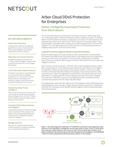 Protección contra ataques DDoS de Arbor Cloud para empresas