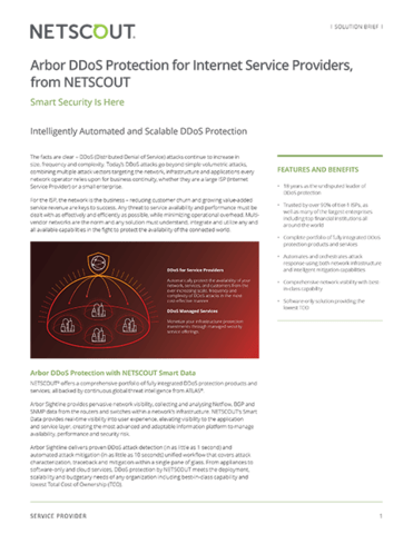 Arbor DDoS Protection for Internet Service Providers, from NETSCOUT