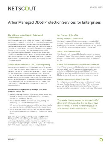 Arbor Managed DDoS Protection Services for Enterprises