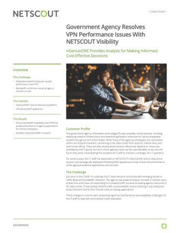 Government Agency Resolves VPN Performance Issues With NETSCOUT Visibility
