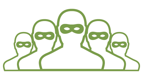 Green outline icons of criminals wearing eye masks
